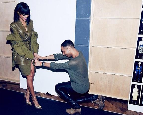 Rihanna- Olivier Rousteing Balmain Paris Fashion-week Backstage