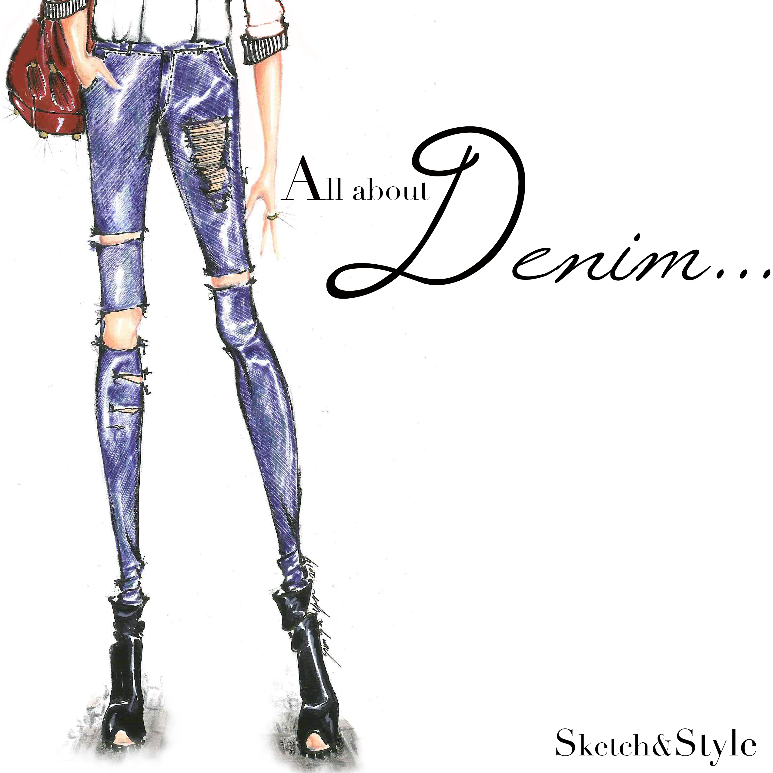 """All about Denim"" Illustration by Sketch&Style"