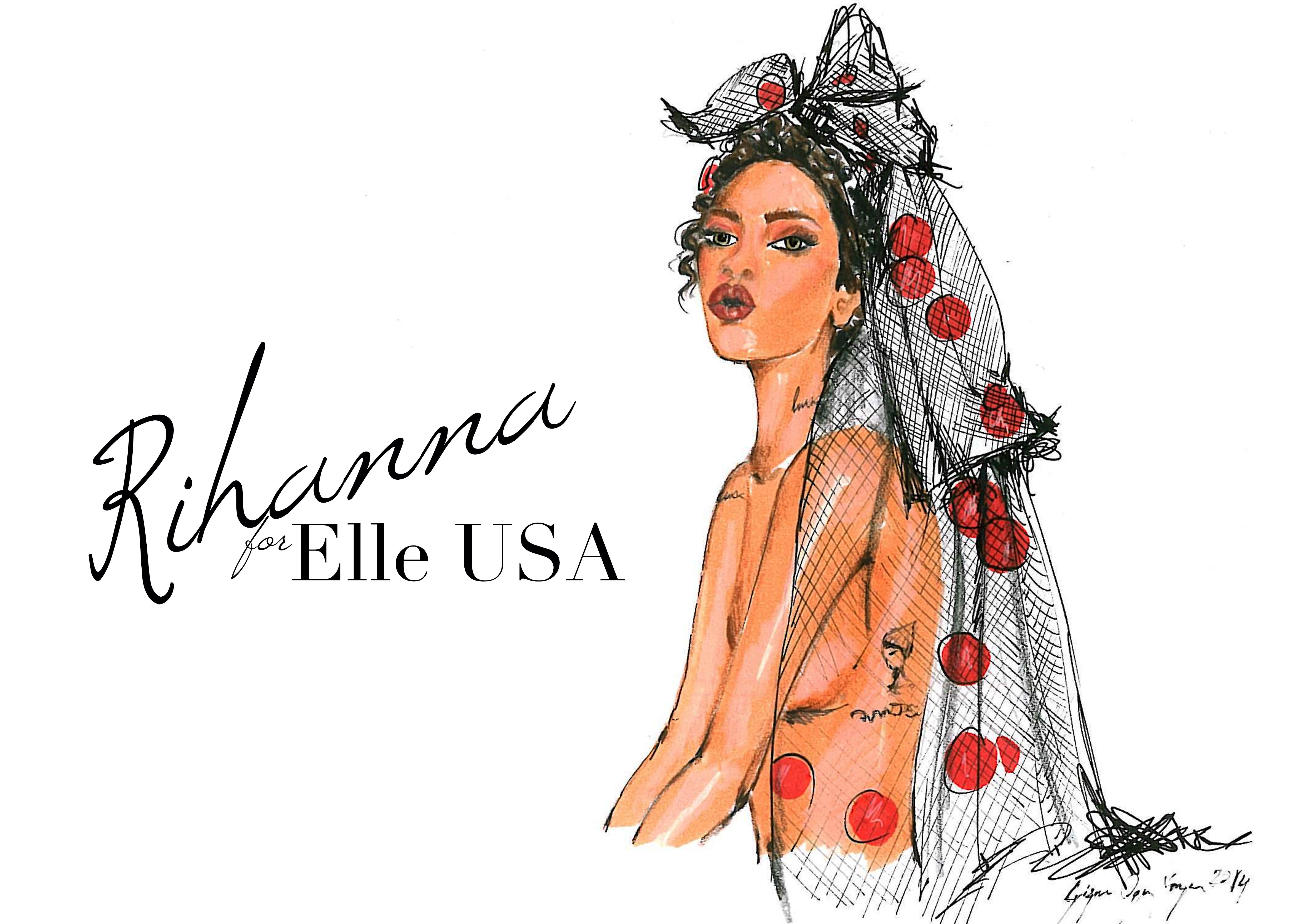 Rihanna for Elle | Sketch&Style